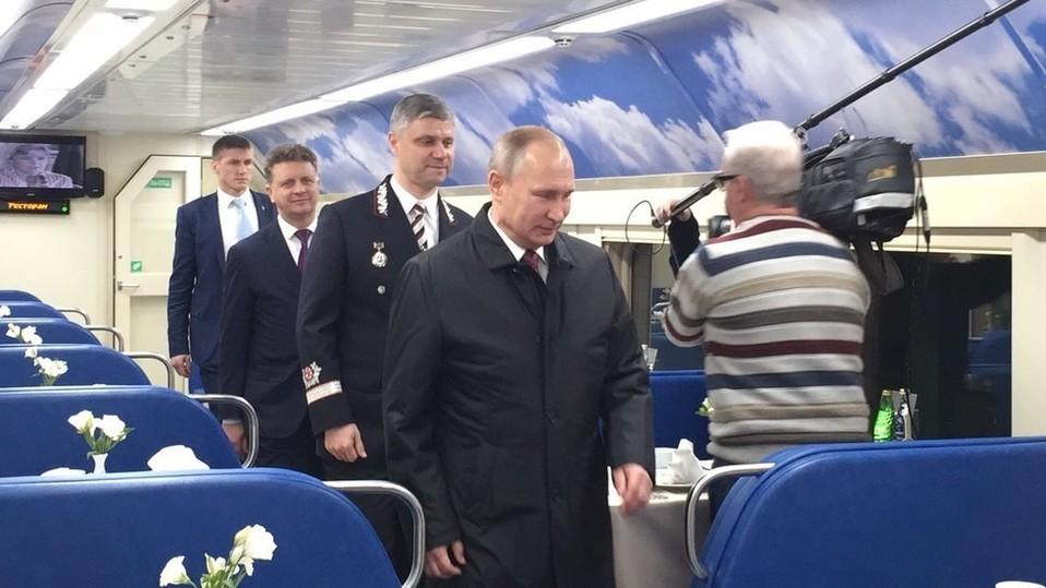 Путин осмотрел поезд «Стриж» и двухэтажные вагоны
