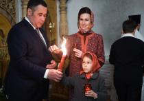 Губернатор Тверской области встретил праздник Пасхи в Воскресенском кафедральном соборе